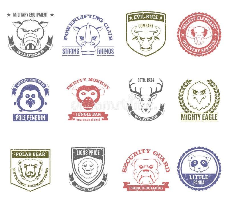 Stämpeluppsättning för löst djur stock illustrationer