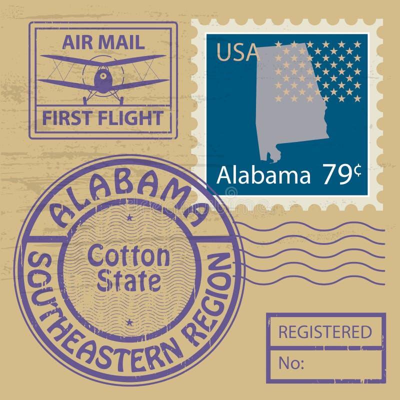 Stämpeluppsättning med namn av Alabama royaltyfri illustrationer