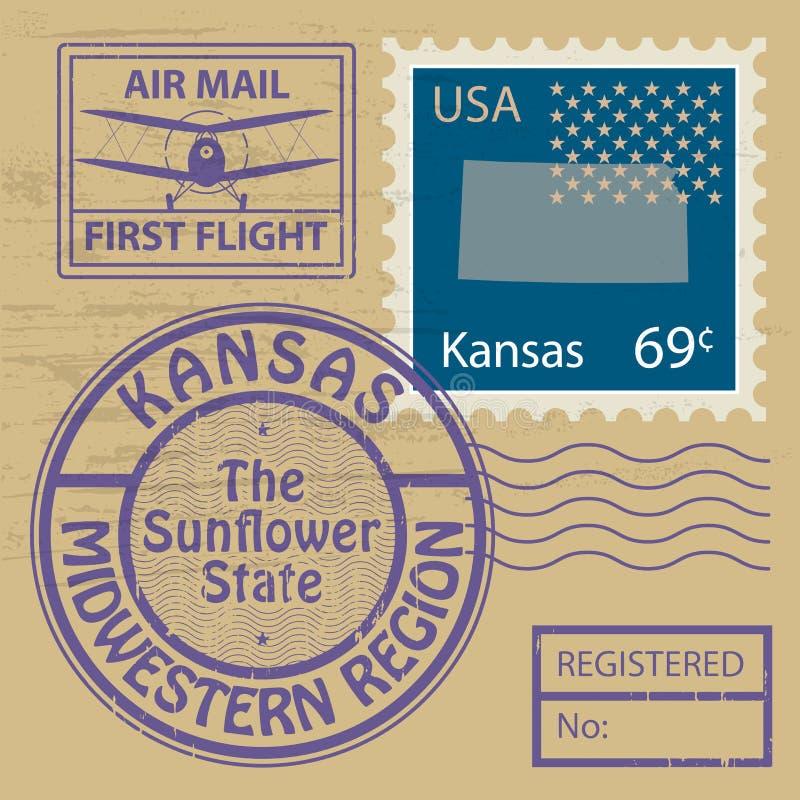 Stämpeluppsättning med namn av Kansas royaltyfri illustrationer