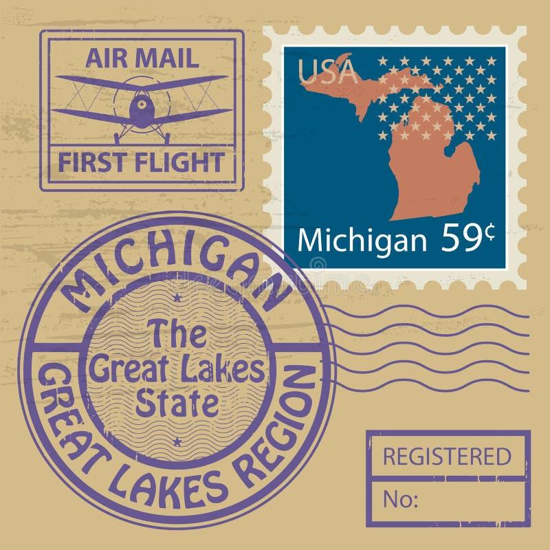 Stämpeluppsättning med namn av Michigan royaltyfri illustrationer