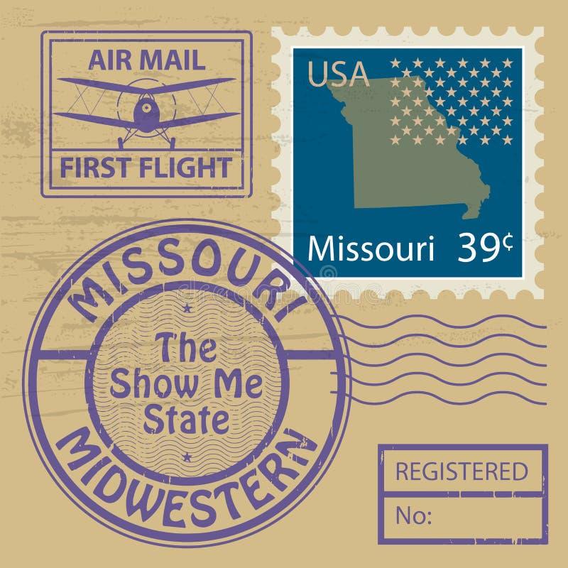 Stämpeluppsättning med namn av Missouri royaltyfri illustrationer