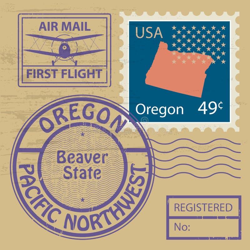 Stämpeluppsättning med namn av Oregon royaltyfri illustrationer