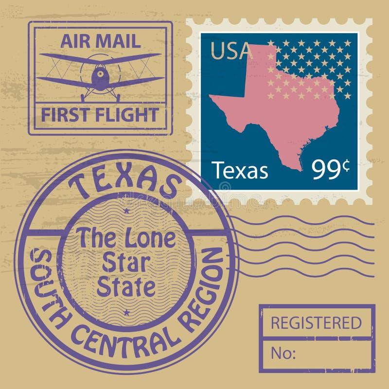 Stämpeluppsättning med namn av Texas vektor illustrationer