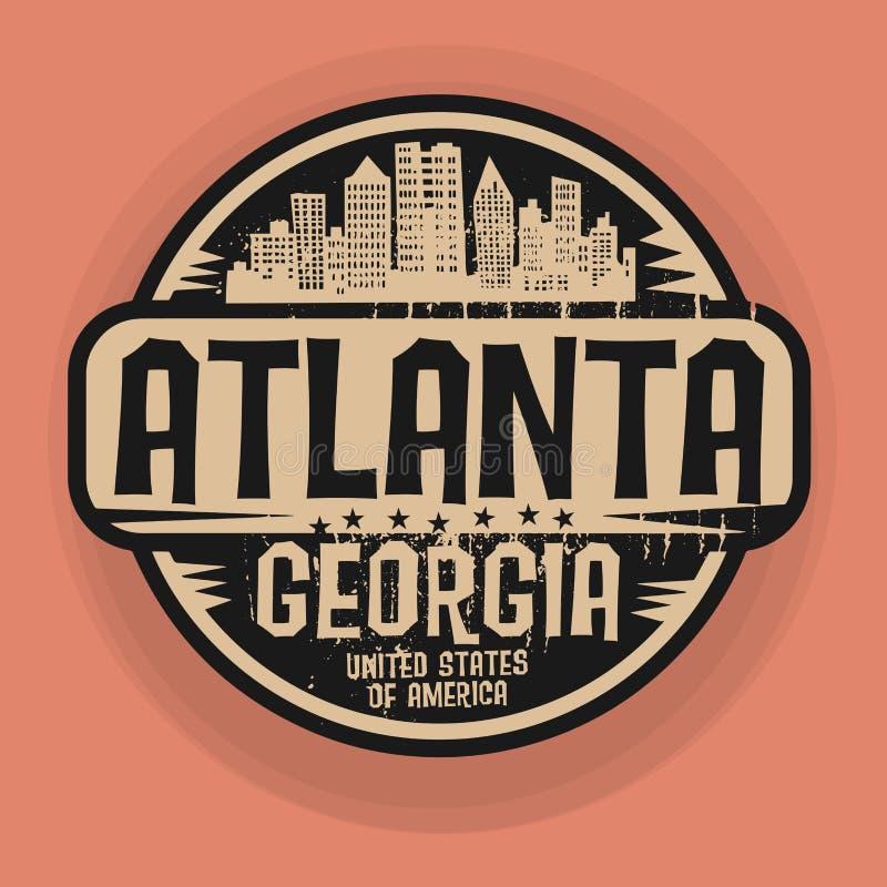 Stämpla eller etiketten med namn av Atlanta, Georgia stock illustrationer