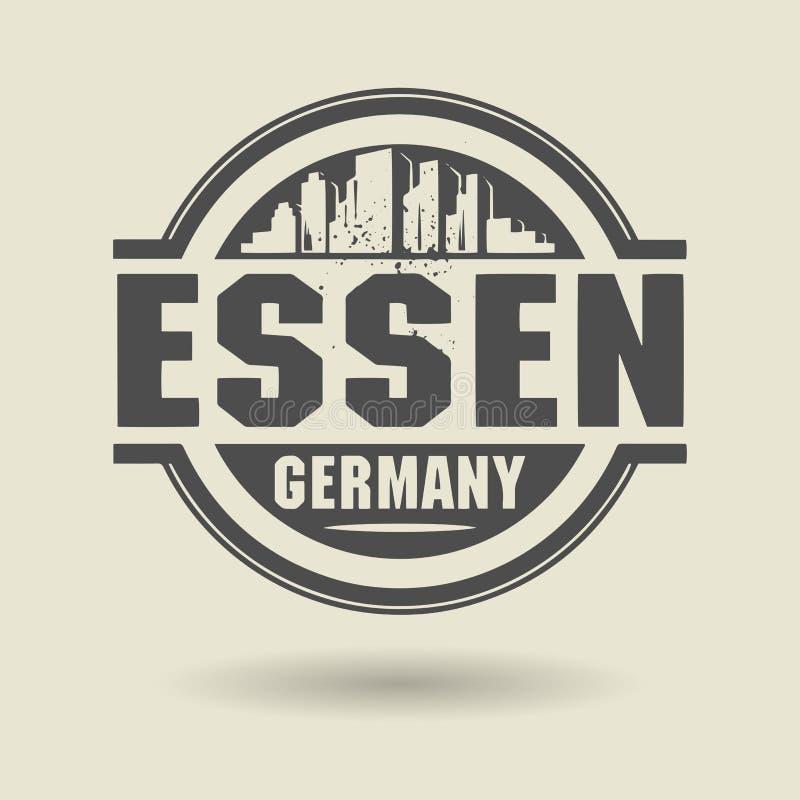 Stämpla eller etiketten med text Essen, Tyskland inom stock illustrationer