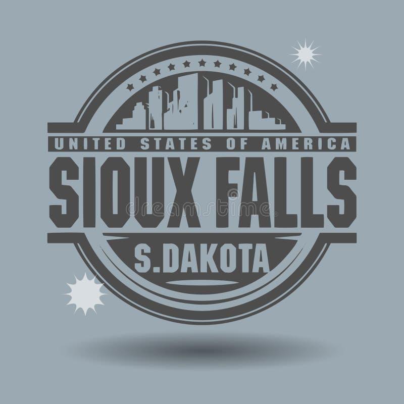 Stämpla eller etiketten med text Sioux Falls, South Dakota inom royaltyfri illustrationer