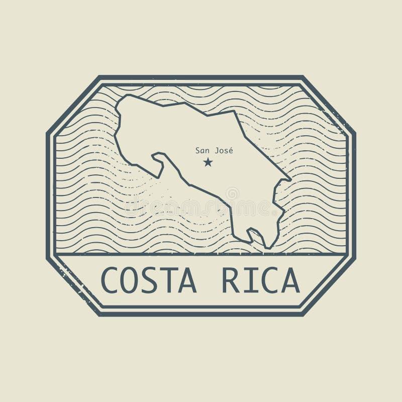 Stämpla med namnet och översikten av Costa Rica royaltyfri illustrationer
