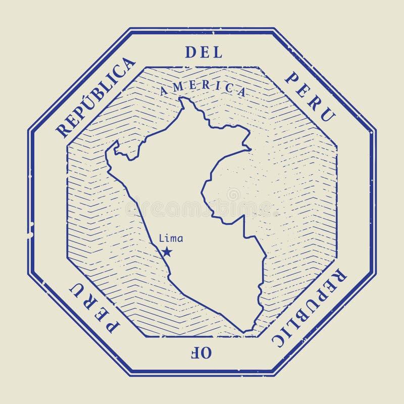 Stämpla med namnet och översikten av Peru vektor illustrationer