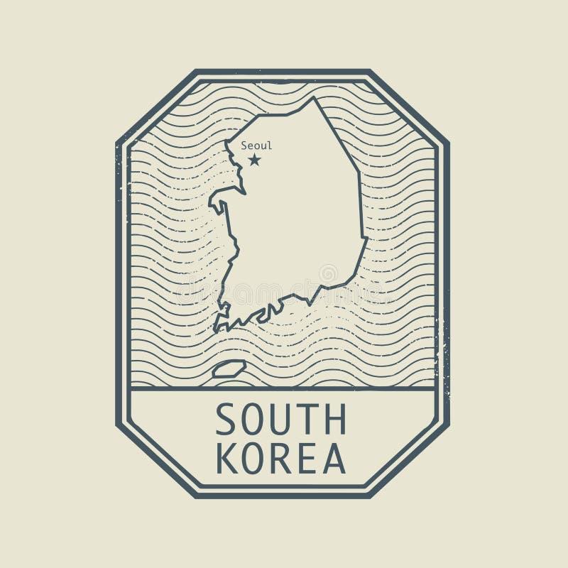 Stämpla med namnet och översikten av Sydkorea royaltyfri illustrationer