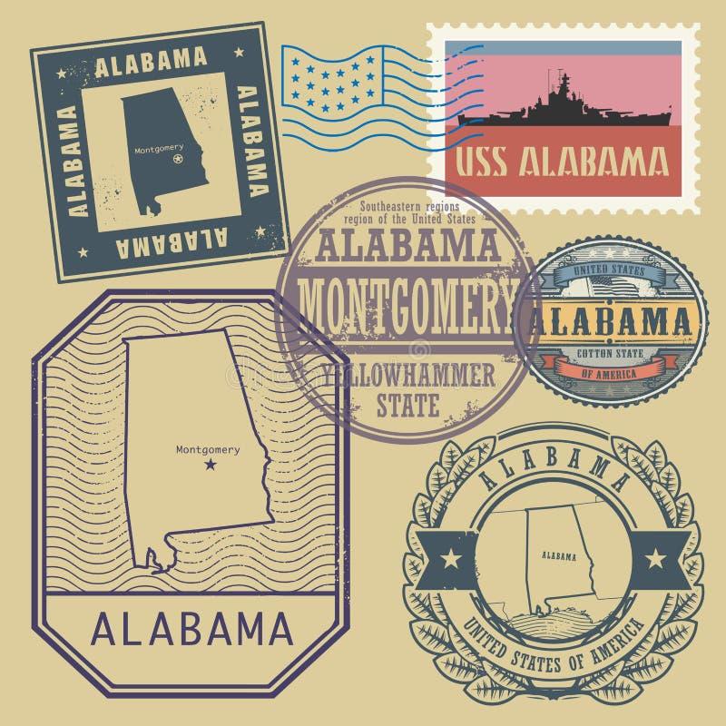 Stämpla uppsättningen med namnet och översikten av Alabama vektor illustrationer