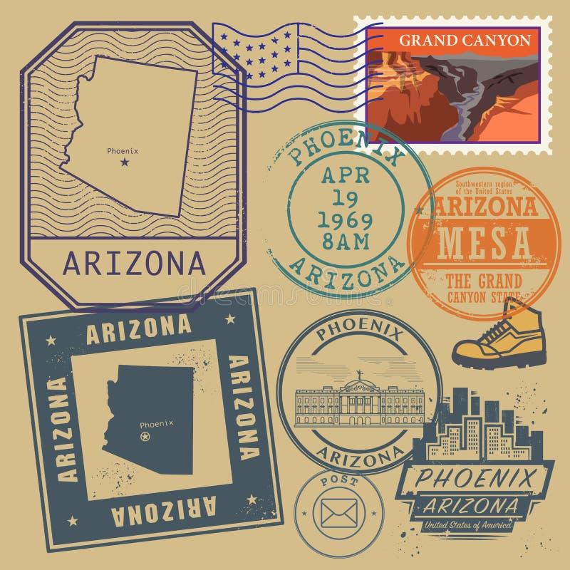 Stämpla uppsättningen med namnet och översikten av Arizona royaltyfri illustrationer