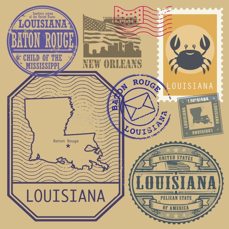 Stämpla uppsättningen med namnet och översikten av Louisiana stock illustrationer