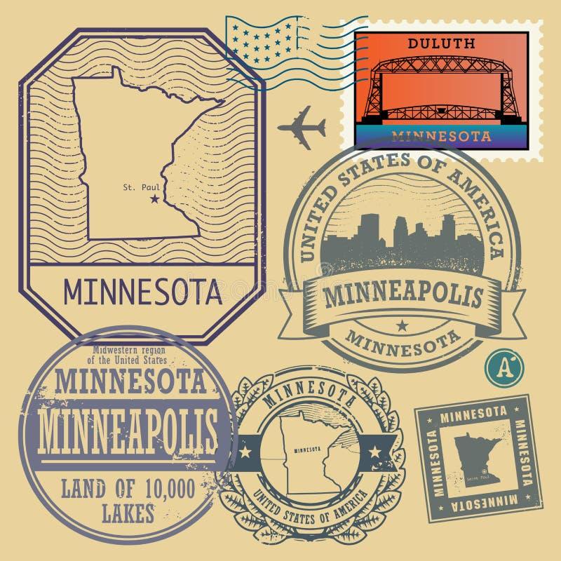Stämpla uppsättningen med namnet och översikten av Minnesota vektor illustrationer