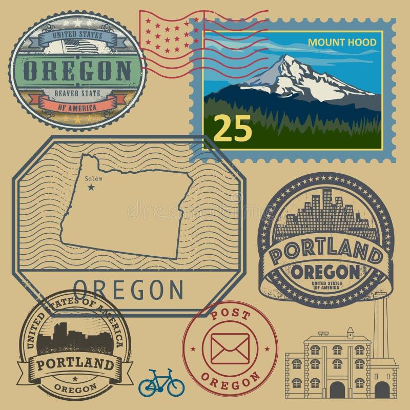 Stämpla uppsättningen med namnet och översikten av Oregon vektor illustrationer