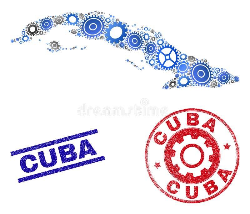Stämplar för översikt och för Grunge för Kuba för hjulcollagevektor stock illustrationer