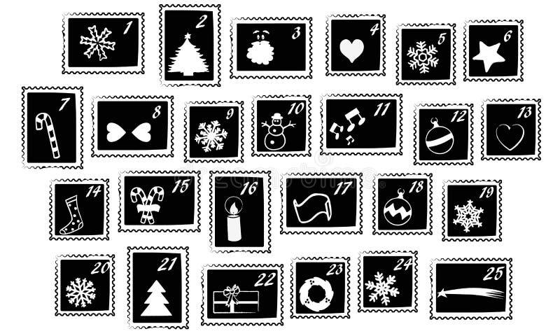 stämplar för adventkalenderjul royaltyfri illustrationer