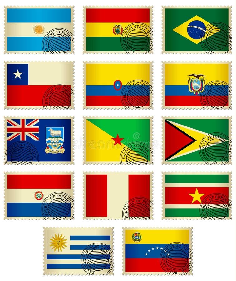 stämplar för Amerika flaggasöder stock illustrationer