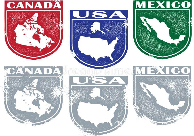 stämplar för Amerika landsnord royaltyfri illustrationer