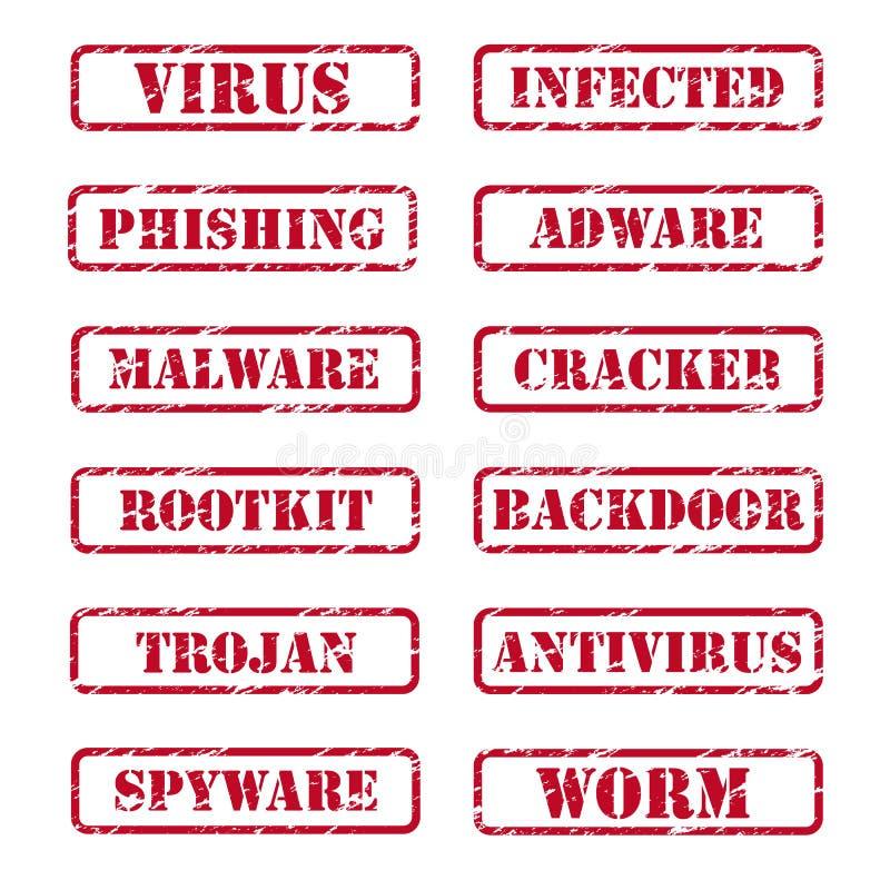 stämplar för datorsäkerhet royaltyfri illustrationer