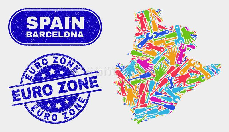 Stämplar för euroområde för översikt och för Grunge för produktivitetsBarcelona landskap royaltyfri illustrationer