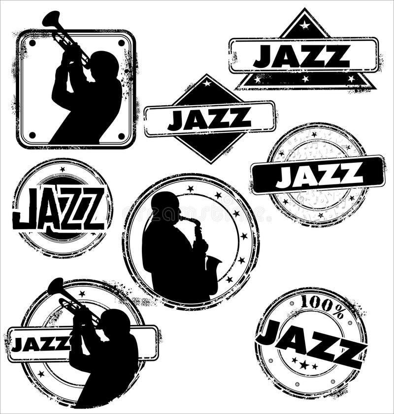 Stämplar för Grunge jazzmusik royaltyfri illustrationer