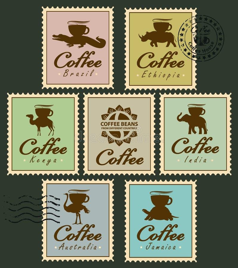 Stämplar med djur från kaffekoppen stock illustrationer