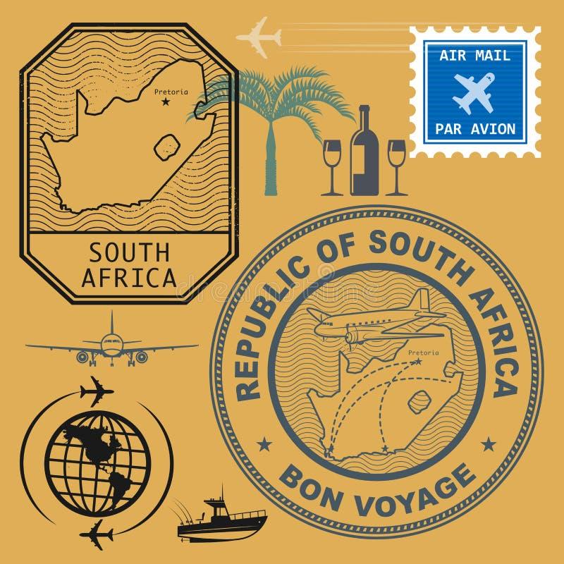Stämplar ställde in Sydafrika vektor illustrationer