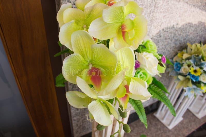 stäng den isolerade orchiden över övre vit yellow fotografering för bildbyråer