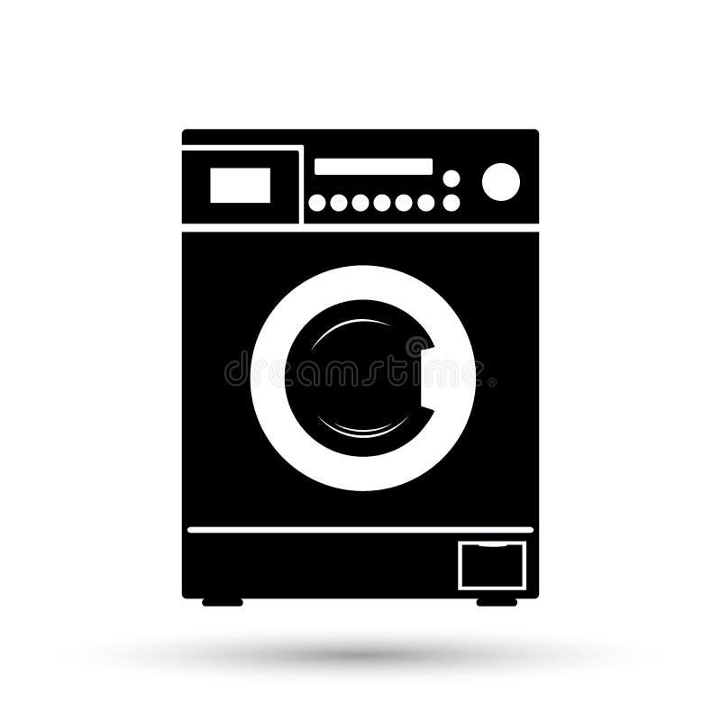 stäng maskinen som skjutas upp tvätt symboler i en stil av den plana designen vektor illustrationer