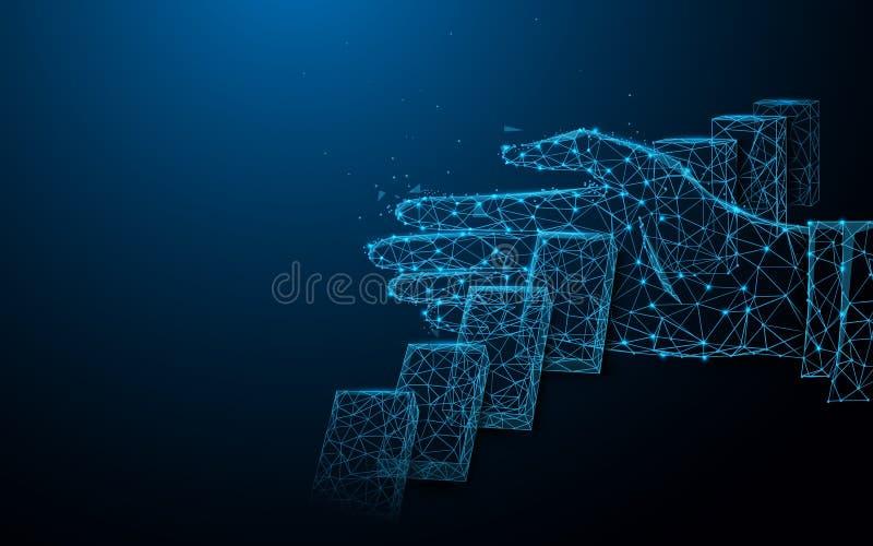 Stäng sig upp av affärsmanhanden som stoppar fallande dominobrickaeffekt Linjer, trianglar och partikelstildesign vektor illustrationer