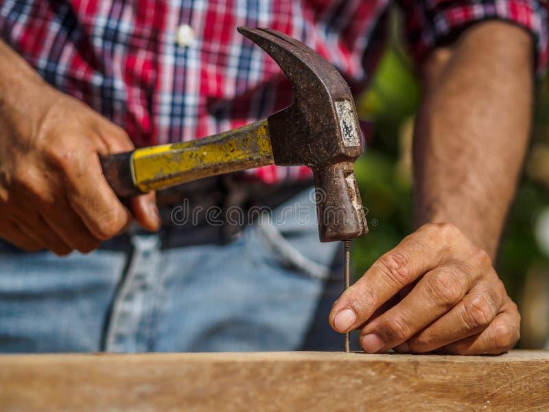 Stäng sig upp av att bulta en spika in i träbräde yrke karp royaltyfri fotografi