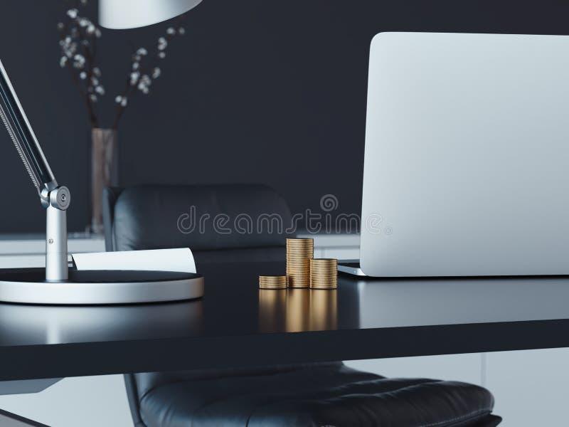 Stäng sig upp av bärbara datorn och guld- mynt på tabellen, tolkningen 3d vektor illustrationer