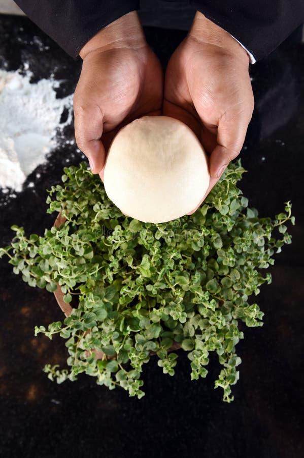 Stäng sig upp av bollar av nya pizzadeg- och oreganoväxter fotografering för bildbyråer