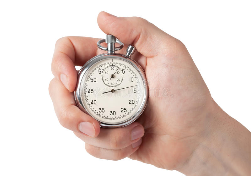 Stäng sig upp av den hållande stoppuren för handen, isolerat på vit bakgrund royaltyfri foto