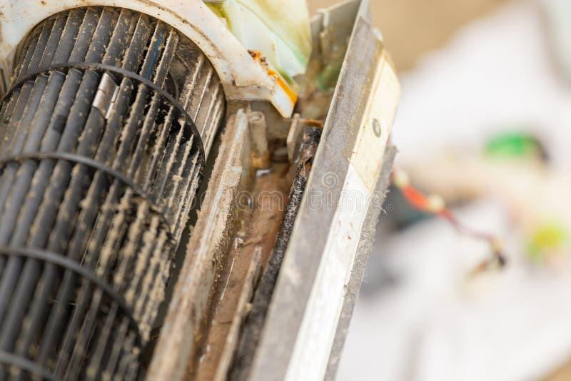 Stäng sig upp av den smutsiga inre rumsluftkonditioneringsapparaten royaltyfria bilder
