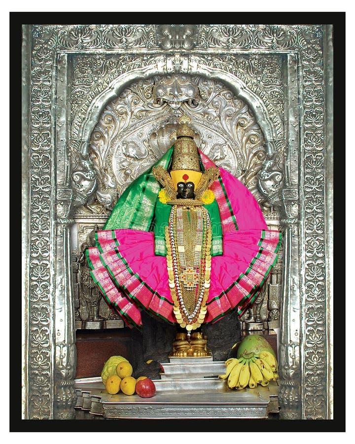 Stäng sig upp av den South Asia statyn av den gudinnaMahalaxmi ståenden med silverramen och den rosa indiska sari med guld- juvel arkivbilder