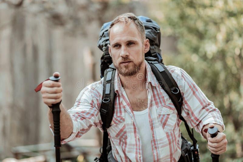 Stäng sig upp av den stiliga mannen som fotvandrar i bergen med att gå poler royaltyfri bild
