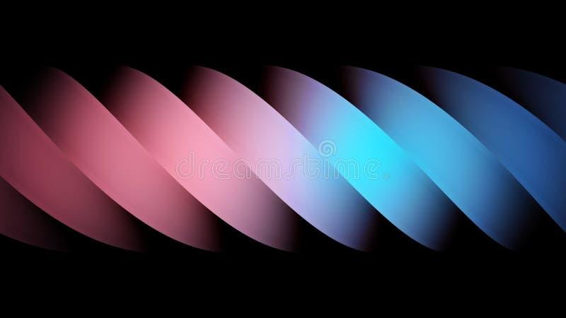 Stäng sig upp av en abstrakt rörande hisnande spiral av blåa och rosa färger som isoleras på svart bakgrund, sömlös ögla stock illustrationer