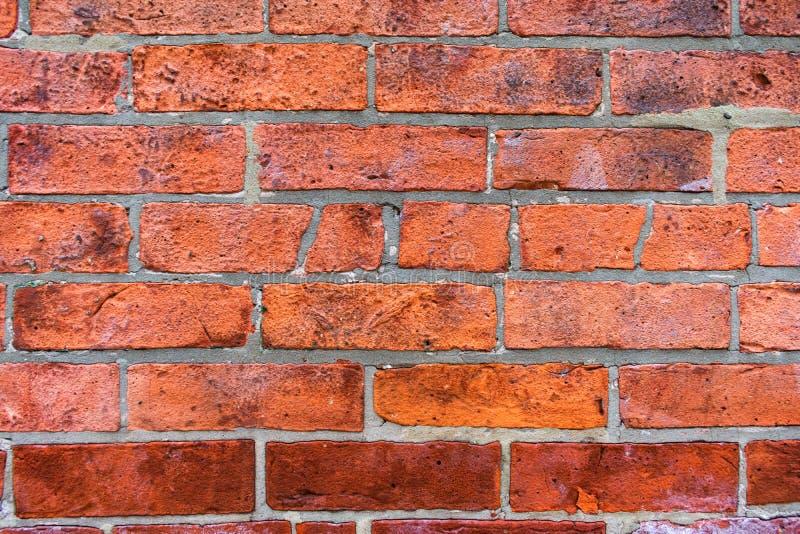 Stäng sig upp av en gammal ojämn bakgrund för vägg för röd tegelsten royaltyfria foton