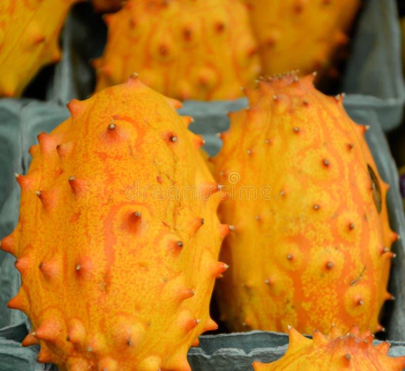 Stäng sig upp av en kiwano eller en horned melon arkivfoton