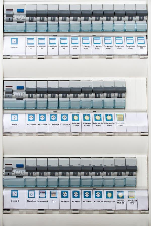 Stäng sig upp av en modern hem- elektrisk panel arkivfoton