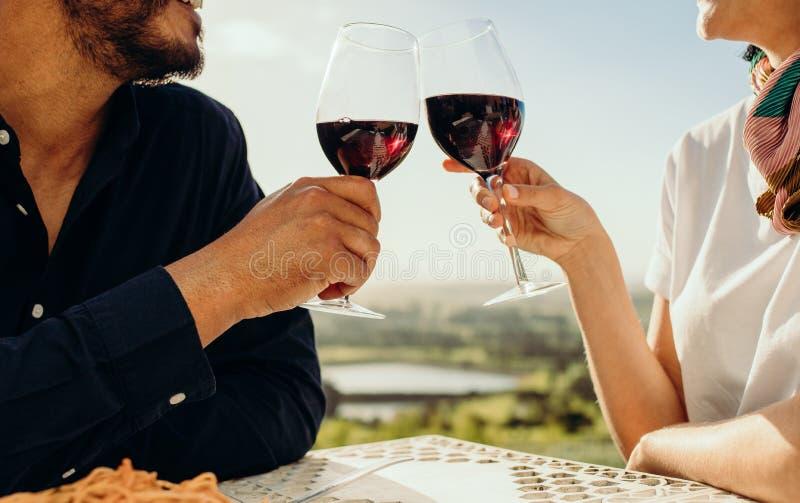 Stäng sig upp av ett par som rostar vin royaltyfri fotografi