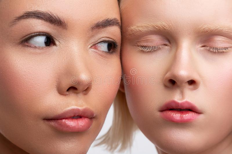 Stäng sig upp av framsidor av två härliga kvinnor med att förbluffa utseende arkivfoton