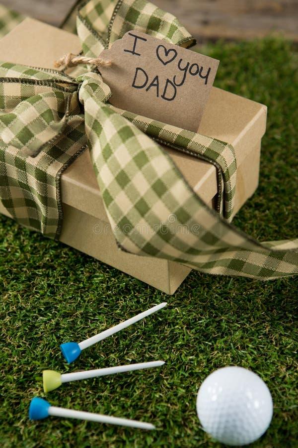 Stäng sig upp av gåvan för faderdagen med golfboll och utslagsplatsen fotografering för bildbyråer