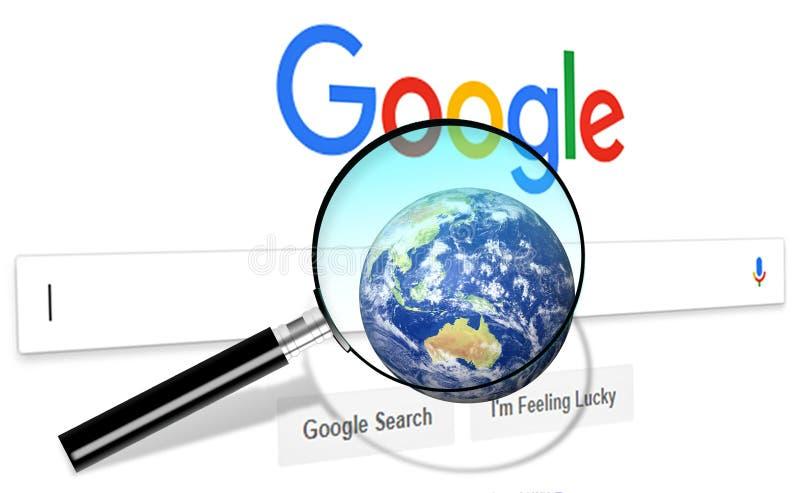 Stäng sig upp av Google sökandehomepage, och markören på skärmen Google är världar royaltyfri foto