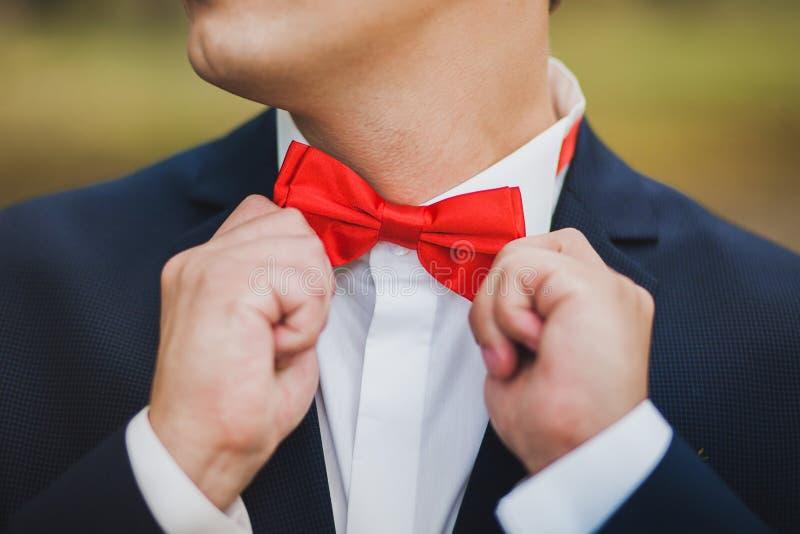 Stäng sig upp av händer av mannen som korrigerar röd bowtie Mannen bär blått s fotografering för bildbyråer