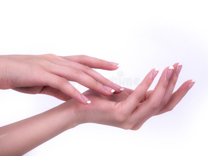 Stäng sig upp av härliga kvinnahänder Spa och manikyrbegrepp kvinnligfransmannen hands manicuren Mjuk hud, skincarebegrepp arkivbild