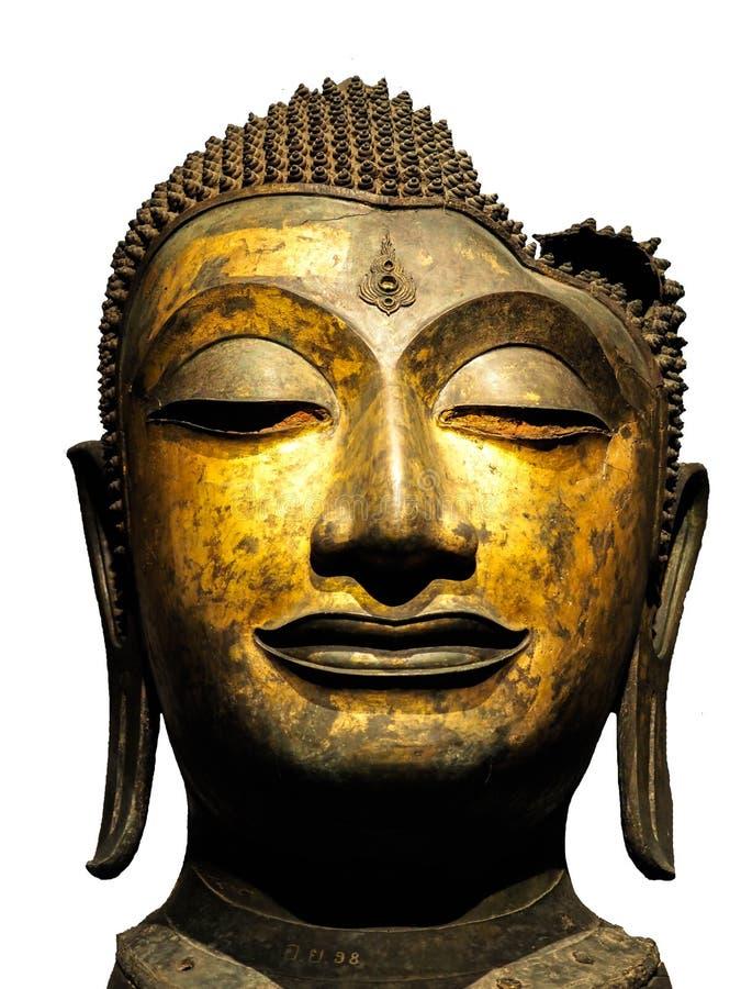 Stäng sig upp av huvudet av Buddha, framsidan för antikvitetbronsBuddha, det nationella museet Bangkok Thailand fotografering för bildbyråer