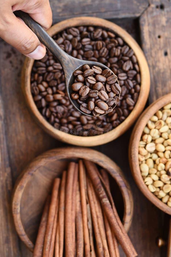 Stäng sig upp av kaffebönor i träbunke och kanel royaltyfri foto