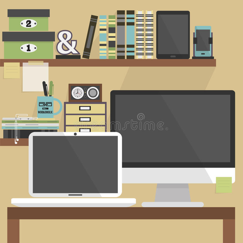 Stäng sig upp av modern och stilfull arbetsplatsen för lägenheten, royaltyfri illustrationer